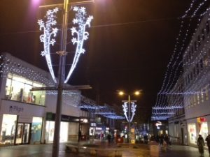 Christmas lights in town